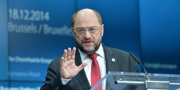 BRUSSELS, BELGIUM -DECEMBER 18:  European Parliament President Martin Schulz attends a press conference on the first day of the European Council meeting at the European Council headquarters in Brussels, Belgium on December 18, 2014. (Photo by Dursun Aydemir/Anadolu Agency/Getty Images)