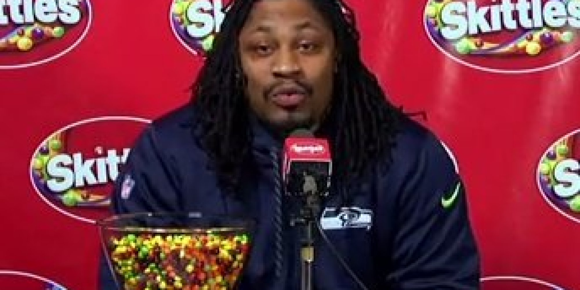 Marshawn Lynch, a former NFL football running back with the Seattle  Seahawks, traveled to