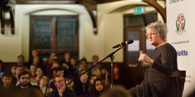 CAMBRIDGE, CAMBRIDGESHIRE - JANUARY 26:  Germaine Greer speaks to students at The Cambridge Union on January 26, 2015 in Cambridge, Cambridgeshire.  (Photo by Chris Williamson/Getty Images)