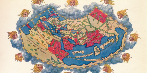 Ptolemy's Map of the World cA.D 150. The Ptolemy world map is a map of the known world to Hellenistic society in the 2nd century AD. It was based on the description contained in Ptolemy's book Geographia, written c150. Perhaps the most significant contributions of Ptolemy's maps are the first uses of longitudinal and latitudinal lines. Taken from 'A Book of Discovery', published by T. C. & E. C. Jack Ltd. 1912. (Photo by The Print Collector/Print Collector/Getty Images)