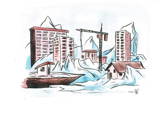 dessin villes glace