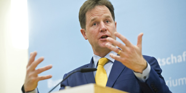 BERLIN, GERMANY -  NOVEMBER 26:  British Deputy Prime Minister Nick Clegg speaks as he attends a press statement in German Ministry of Economy on November 26, 2014 in Berlin, Germany. (Photo by Michael Gottschalk/Photothek via Getty Images)
