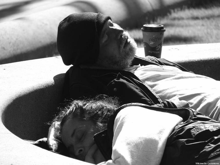homeless couple sf bw