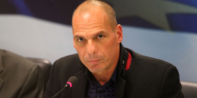 ATHENS, GREECE - JANUARY 28: New Greek Finance Minister Yanis Varoufakis attends a handover ceremony in Athens on January 28, 2015. (Photo by Ayhan Mehmet/Anadolu Agency/Getty Images)