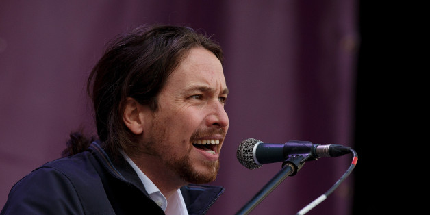 MADRID, SPAIN - JANUARY 31:  Leaders of Podemos (We Can) Pablo Iglesias speaks on stage at the end of a march on January 31, 2015 in Madrid, Spain. According to the last opinion polls Podemos (We Can), the anti-austerity left-wing party that emerged out of popular movements and officially formed last year, has wider support than the traditional parties of Spain, the Spanish Prime Minister's right-wing party Partido Popular and the main opposition party, the Socialist (PSOE). Spain will hold Gene