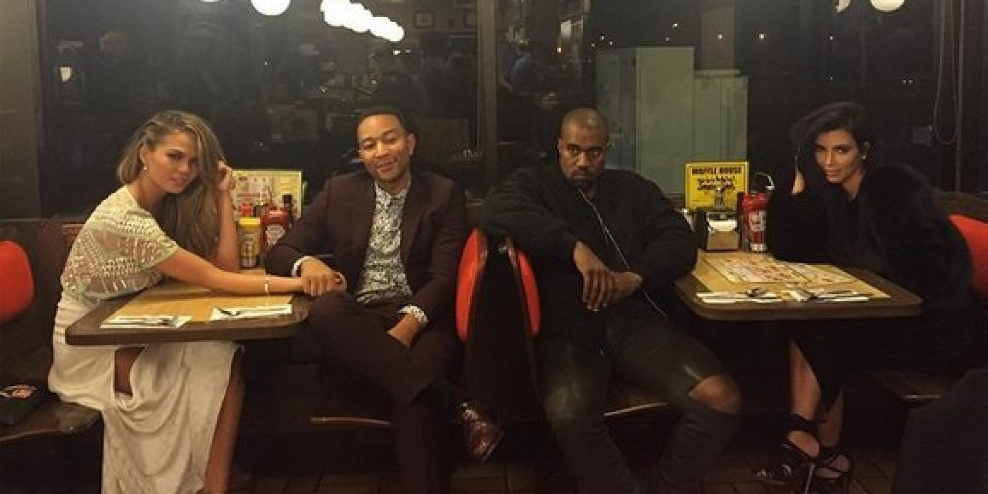 Kimye John Legend And Chrissy Teigen Have Double Date At Waffle