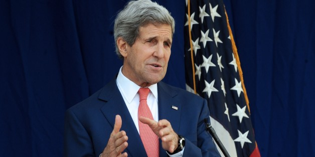 US Secretary of State John Kerry speaks during a press conference in Lagos January 25, 2015. US Secretary of State John Kerry said today that peaceful and timely elections were vital in Nigeria, where the country is battling a deadly insurgency by Boko Haram.   AFP PHOTO/ PIUS UTOMI EKPEI        (Photo credit should read PIUS UTOMI EKPEI/AFP/Getty Images)