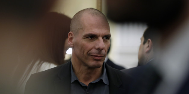 New Greek Finance Minister Yanis Varoufakis is seen after a swearing in ceremony at the Presidential Palace in Athens, Tuesday, Jan. 27, 2015. Greece's new left-wing Prime Minister Alexis Tsipras picked an outspoken bailout critic, Yanis Varoufakis, as his new finance minister Tuesday, signaling his revolve to take a tough line with eurozone lenders in an effort to write off a massive chunk rescue debt. (AP Photo/Thanassis Stavrakis)