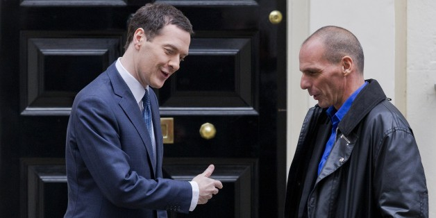 Britain's Finance Minister George Osborne (L) greets Greek Finance Minister Yanis Varoufakis outside 11 Downing Street in central London on February 2, 2015. Greek Finance Minister Yanis Varoufakis was Monday set for talks with his British counterpart as he seeks to build support for a renegotiation of his country's 240-billion-euro ($270-billion) bailout in the face of German opposition. AFP PHOTO / JUSTIN TALLIS        (Photo credit should read JUSTIN TALLIS/AFP/Getty Images)