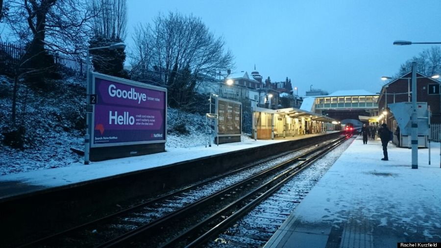 snow at streatham hill station