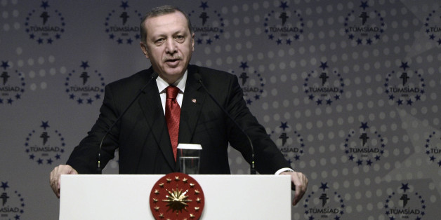 ISTANBUL, TURKEY - JANUARY 31: Turkish president Recep Tayyip Erdogan speaks during plenary session of TUMSIAD (All industrialists and Businessmen Association) in Istanbul, Turkey on January 31, 2015. (Photo by Berk Ozkan/Anadolu Agency/Getty Images)