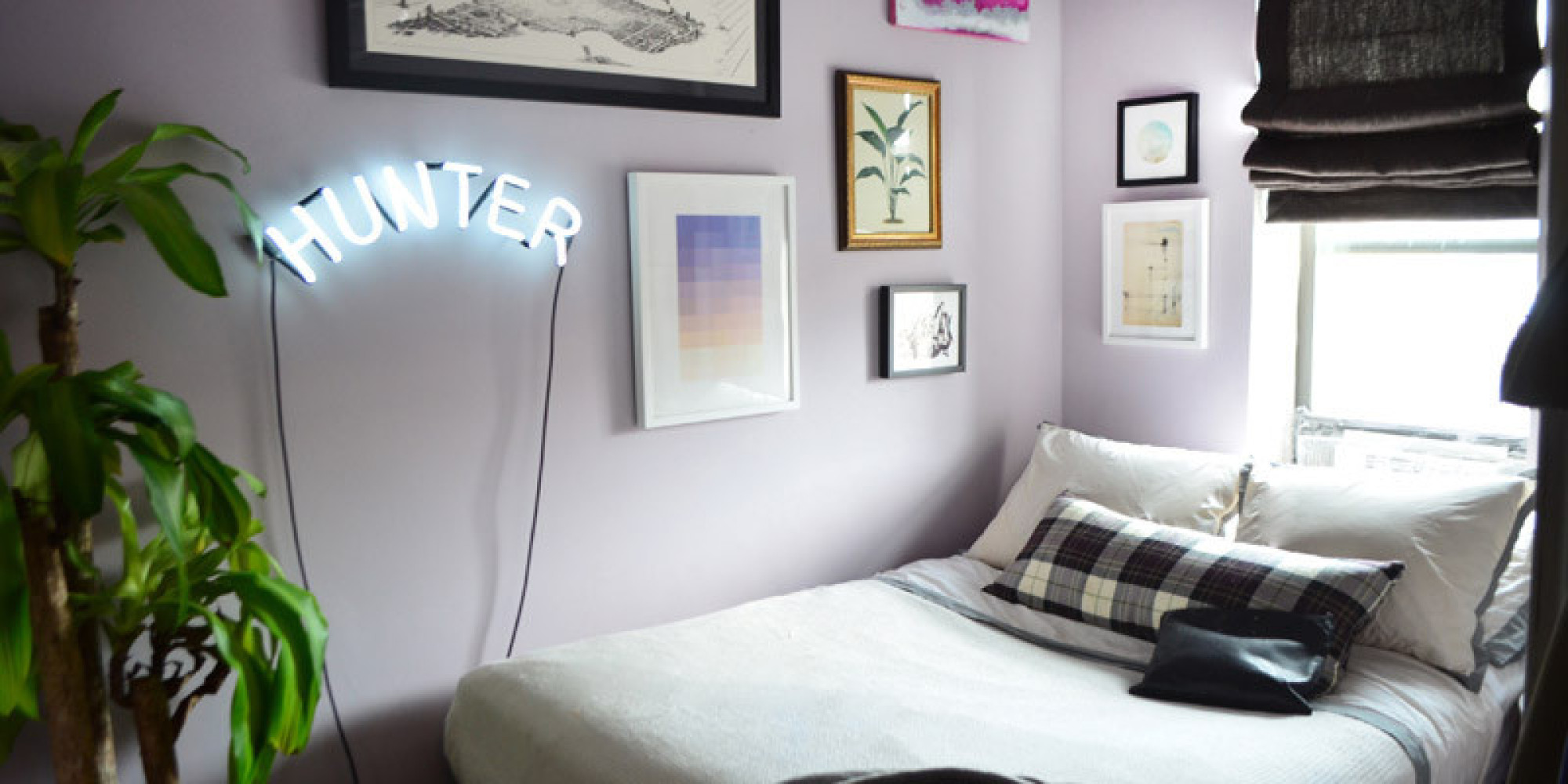 Small bedroom tricks from a real life tiny home huffpost for Small square room ideas