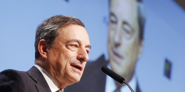 FILE - In this Nov. 21, 2014 file photo, European Central Bank President Mario Draghi delivers a speech at the European Banking Congress in Frankfurt, Germany. Europe's economy was in recovery mode the first half of 2014 before being derailed by the Russia-Ukraine crisis. (AP Photo/Michael Probst, File)