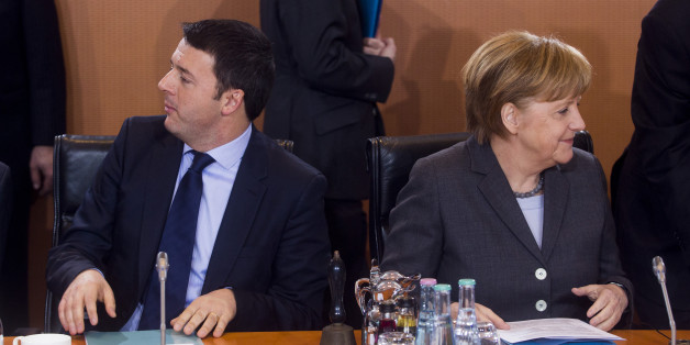 BERLIN, GERMANY - MARCH 17:  German Chancellor Angela Merkel (R) and Italian Prime Minister Matteo Rentzi pictured at the plenary meeting during German and Italian government consultations at the Chancellery on March 17, 2014 in Berlin, Germany. This is the first meeting of its kind between the two governments since Renzi took office in February.  (Photo by Jochen Zick-Pool/Getty Images)