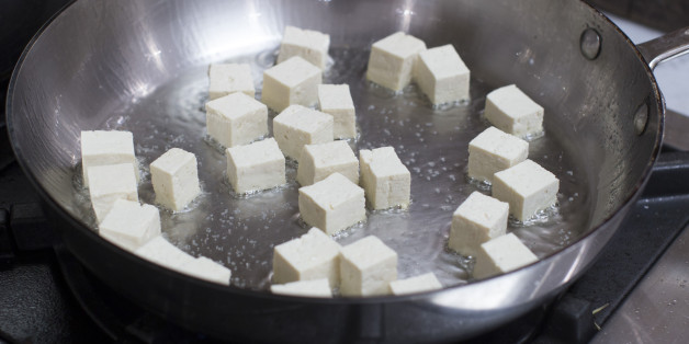This Dec. 8, 2014 photo shows sauteed tofu in Concord, N.H. (AP Photo/Matthew Mead)