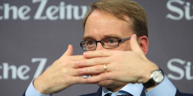 Jens Weidmann, president of the Deutsche Bundesbank, gestures at the Suddeutsche Zeitung economic summit in Berlin, Germany, on Friday, Nov. 28, 2014. Euro-area inflation slowed in November to match a five-year low, prodding the European Central Bank toward expanding its unprecedented stimulus program. Photographer: Krisztian Bocsi/Bloomberg via Getty Images