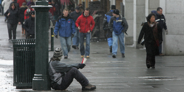 OSLO, NORWAY - FEBRUARY 25:  A begger asks for money in central Oslo on February 25, 2007 in Oslo, Norway.  (Photo by Chris Jackson/Getty Images)