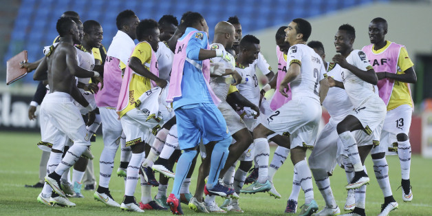 Ghana's soccer team players celebrates after their African Cup of Nations Semifinals soccer match with Equatorial Guinea at Estadio De Malabo, Equatorial Guinea, Thursday Feb. 5, 2015. (AP Photo/Sunday Alamba)