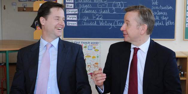 Deputy Prime Minister Nick Clegg and Education Secretary Michael Gove (right) meet pupils at Durand Academy Primary School in Stockwell, south London today.