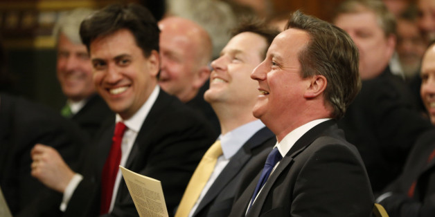 "Britain's Prime Minister David Cameron, right, accompanied by Labour party leader Ed Miliband, left, and Deputy Prime Minister Nick Clegg, centre, laugh as they wait for the arrival of Irish President Michael D. Higgins to deliver a speech at the Houses of Parliament in London, Tuesday, April 8, 2014. The state visit by President Michael D. Higgins is the first by an Irish head of state since Ireland threw off British rule and its monarchy a century ago, and this visit is seen as a sign of how Northern Ireland's peace process has transformed relations between two one-time enemies. Higgins said that while it was impossible to ""wipe the slate clean"" about the past, relations between the two countries are good. (AP Photo/Lefteris Pitarakis)"