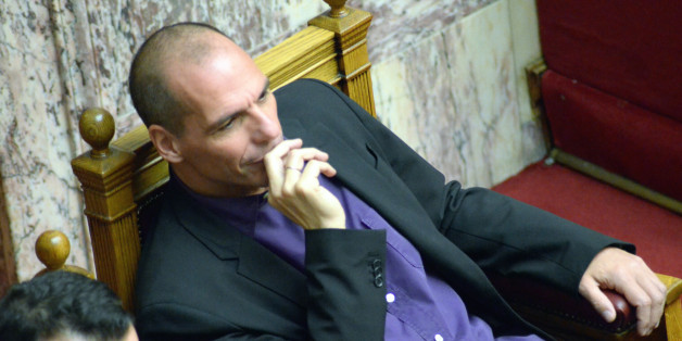 ATHENS, GREECE - 2015/02/06: Greek Minister of Finance Yianis Varoufakis.Greek Lawmaker's voted for the president of the Newly elected Greek parliament. Zoi Konstantopoulou supported by SYRIZA political party won the election with 235 votes in a 300 voters assembly.Zoi Konstantopoulou is the youngest President of the Greek parliament. (Photo by George Panagakis/Pacific Press/LightRocket via Getty Images)