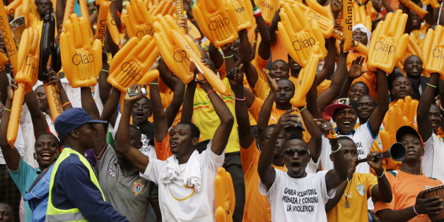 Ivory Coast soccer fans sing before their African Cup of Nations final soccer match with Ghana in Bata, Equatorial Guinea, Sunday, Feb. 8, 2015. (AP Photo/Sunday Alamba)