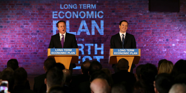 MANCHESTER, ENGLAND - JANUARY 08:  Prime Minister David Cameron and Chancellor George Osborne deliver a speech to business leaders on their long term economic plan at a conference in the Old Granada TV Studios on January 8, 2015 in Manchester, England.  (Photo by Peter Byrne - WPA Pool/Getty Images)