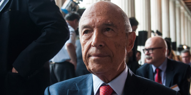 ATHENS, GREECE - 2014/09/15: Former Prime Minister Kostas Simitis sits during the 'Democracy under pressure' forum,  in Attalos arcade, an ancient area of old Athens. Many politicians of the Greek Government and the Greek political life attended the event. (Photo by Andreas Papakonstantinou/Pacific Press/LightRocket via Getty Images)