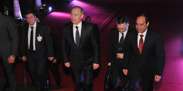 CAIRO, EGYPT - FEBRUARY 9: Russian President Vladimir Putin (2nd L) and Egyptian President Abdel Fattah el-Sisi (R) visit Cairo Tower on February 9, 2015 in Cairo, Egypt. (Photo by Pool / MENA /Anadolu Agency/Getty Images)