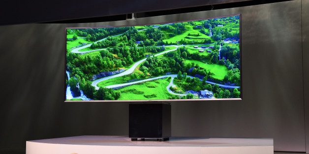 LAS VEGAS, NV - JANUARY 05:  The UN82S9W curved SUHD Smart television designed by Fuseproject Founder Yves Behar is displayed at a press event for Samsung at the Mandalay Bay Convention Center for the 2015 International CES on January 5, 2015 in Las Vegas, Nevada. CES, the world's largest annual consumer technology trade show, runs from January 6-9 and is expected to feature 3,600 exhibitors showing off their latest products and services to about 150,000 attendees.  (Photo by Ethan Miller/Getty