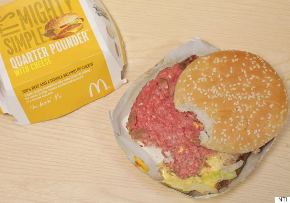 raw mcdonalds burger