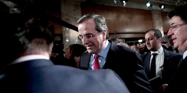 Greek Prime Minister Antonis Samaras and leader of the Nea Dimokratia party arrives for his speech at the InterContinental hotel in Athens on January 10, 2015. Taxes are in the center of the political program of the Greek Prime Minister and leader of the right Antonis Samaras, presented Saturday in the elections of January 25. AFP PHOTO / Angelos Tzortzinis        (Photo credit should read ANGELOS TZORTZINIS/AFP/Getty Images)