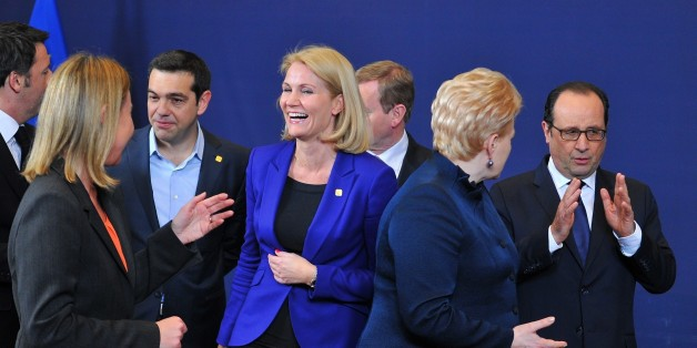 BRUSSELS, BELGIUM - FEBRUARY 12 :  Greek Prime Minister Alexis Tsipras (3rd L), Danish President Helle Thorning-Schmidt (C), Lithuanian President Dalia Grybauskaite (2nd R) and French President Francois Hollande (R) are seen during the EU summit in Brussels, Belgium on February 12, 2015. Dursun Aydemir / Anadolu Agency (Photo by Dursun Aydemir/Anadolu Agency/Getty Images)