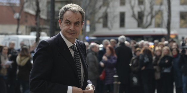 Spanish former President Jose Luis Rodriguez Zapatero arrives for the funeral ceremony for the late president of the Spanish publishing group Planeta, Jose Manuel Lara, in Barcelona on February 2, 2015. Lara could be compared to the Australian magnate Rupert Murdoch, having acquired over the years publishing houses, newspapers, radios and television production companies as well as cinema distribution entities.  AFP PHOTO / JOSEP LAGO        (Photo credit should read JOSEP LAGO/AFP/Getty Images)