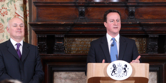 LONDON, UNITED KINGDOM - FEBRUARY 17:  British Prime Minister David Cameron makes a speech on welfare alongside Iain Duncan Smith at on February 17, 2011 at Toynbee Hall in London. The Welfare Reform Bill is set to replace the current benefits system with a single Universal Credit,and to help people in long-term unemployment into jobs. (Photo by Lewis Whyld - WPA Pool/Getty Images)