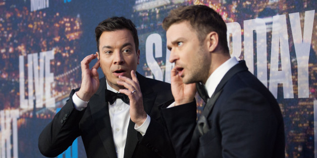 NEW YORK, NY - FEBRUARY 15:  Jimmy Fallon (L) and Justin Timberlake attend the SNL 40th Anniversary Celebration at Rockefeller Plaza on February 15, 2015 in New York City.  (Photo by D Dipasupil/FilmMagic)