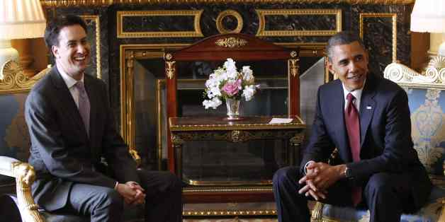 President Barack Obama meets with British opposition leader Ed Miliband at Buckingham Palace in London, Tuesday, May 24, 2011. (AP Photo/Charles Dharapak)