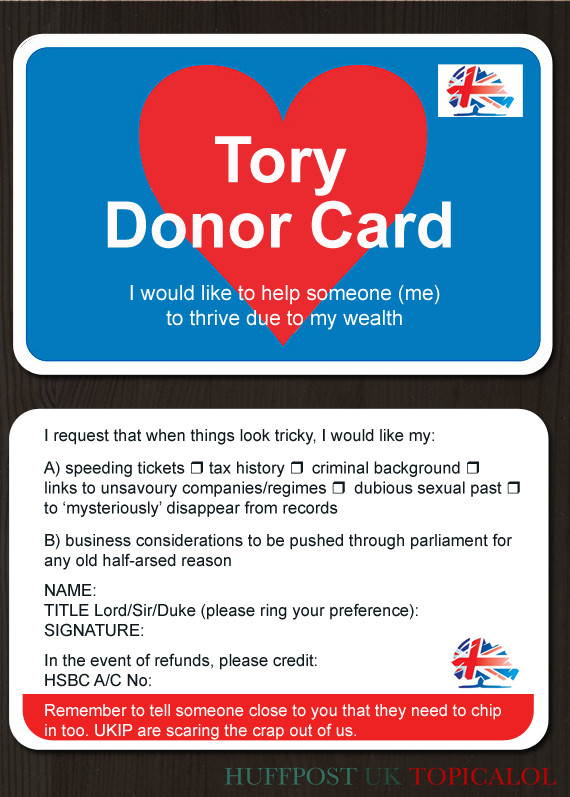 tory donor card
