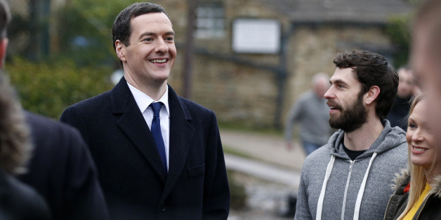 LEEDS, UNITED KINGDOM - FEBRUARY 05:  Kelvin Fletcher (R) and the Chancellor Of The Exchequer George Osborne during a visit to the set of television series Emmerdale on the Harewood Estate on February 5, 2015 in Leeds, England. (Photo by Lynne Cameron - WPA Pool/Getty Images)