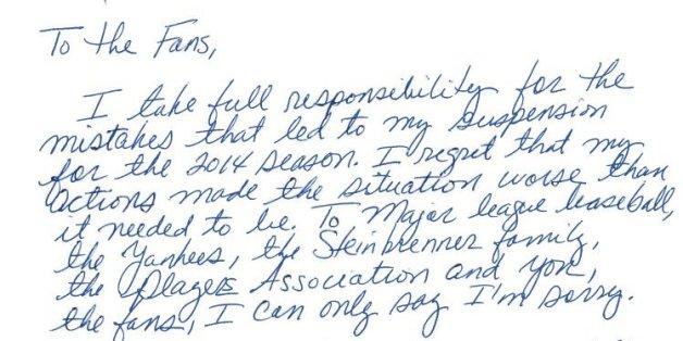 Alex Rodriguez Issues Handwritten Apology: \'I Take Full ...