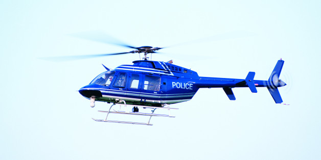 Photo, helicopter in flight, Police, Color, High res