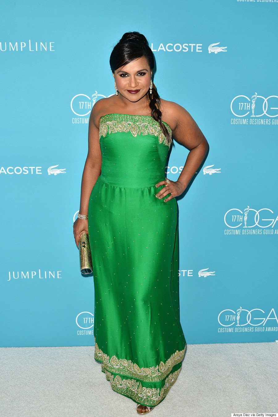 Mindy Kaling Channels Bollywood In Gorgeous Green Dress