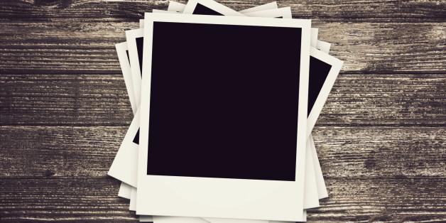 collection of Polaroid retro frames on wood texture nostalgic vintage look