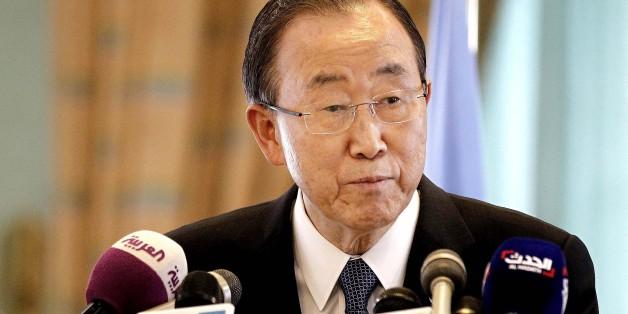 United Nations Secretary General Ban Ki-Moon speaks during a press conference with King Salman bin Abdul-Aziz Al Saud in Riyadh, Saudi Arabia, Sunday, Feb. 8, 2015. (AP Photo)