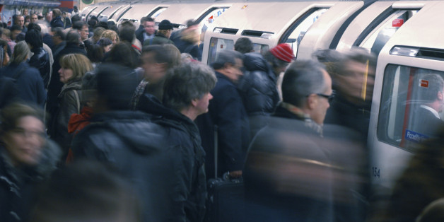 (Too many) people boarding an Underground train