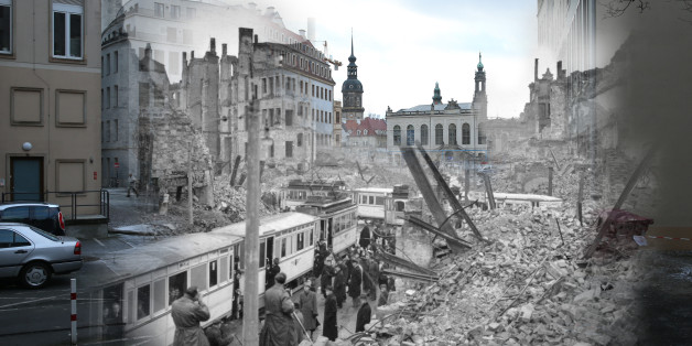 COMPOSITE:  This digital composite image shows Moritzstrasse and the Juedenhof palace in 1946 still wrecked from the Allied firebombing of February 13, 1945 (Fred Ramage, Keystone) as well as the same area today on February 7, 2015 (Sean Gallup). *** ARCHIVE *** #3348955  DRESDEN, GERMANY - MARCH 13, 1946: People getting on trams in the midst of the ruins left by an Allied air raid on Johannstrasse, Dresden, in the Soviet zone of Germany after the Second World War. (Photo by Fred Ramage/Keystone