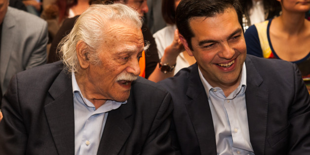 ATHENS, GREECE - 2014/04/29: Alexis Tsipras, leader of Syriza (Coalition of Radical left) in Greece, presents the ballot for the  EU Parliamentary Elections.  Manolis Glezos, (left) the flagship member of Syriza, is seen talking with Alexis Tsipras leader of the Party. (Photo by Andreas Papakonstantinou/Pacific Press/LightRocket via Getty Images)