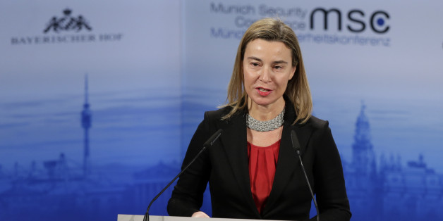 Federica Mogherini, High Representative of the European Union for Foreign Affairs and Security Policy  delivers a  speech at the 51. Security Conference in Munich, Germany, Sunday, Feb. 8, 2015. (AP Photo/Matthias Schrader)