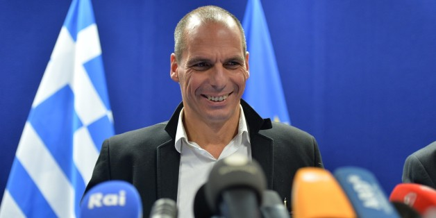 BRUSSELS, BELGIUM - FEBRUARY 20: Greek Finance Minister Yanis Varoufakis holds a press conference after the Eurogroup Council meeting on February 20, 2015 at EU Headquarters in Brussels. (Photo by Dursun Aydemir/Anadolu Agency/Getty Images)