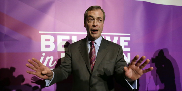 FILE - In this Thursday, Feb. 12, 2015 file photo, UK Independence Party (UKIP) leader Nigel Farage leaves the stage after delivering his first major speech of UKIP's 2015 general election campaign at the Movie Starr Cinema on Canvey Island, England. Britain's general election will be held on Thursday, May 7. (AP Photo/Tim Ireland, File)